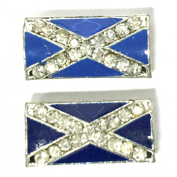 Scottish flag - Saltire flag blue enamel and rhinestone metal beads